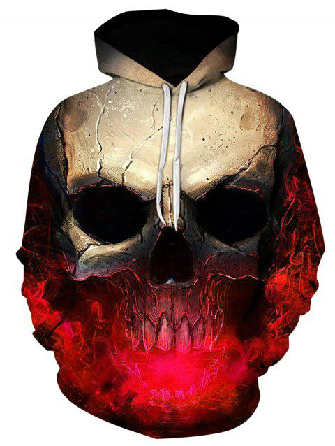 Hooded 3D Skull Print Trippy Hoodie - RED XL