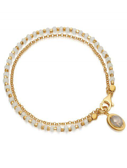 Layered Beads Chain Bracelet - WHITE