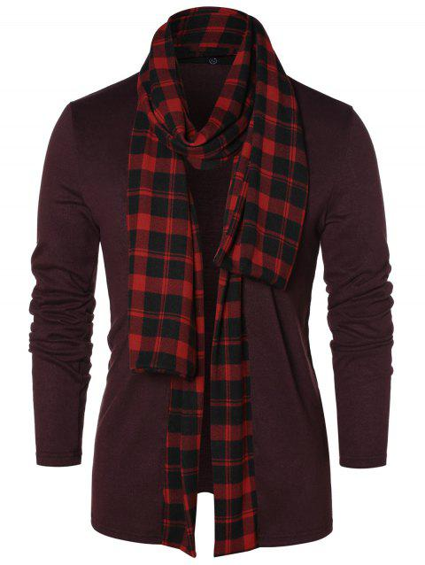 Checked Print Open Front Longline Cardigan - FIREBRICK S