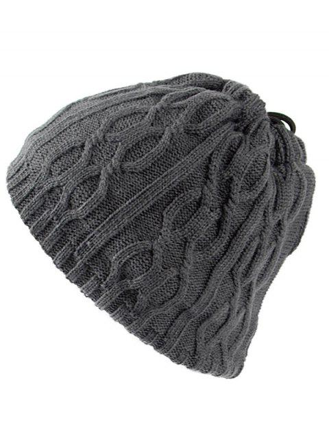 Multi-Use Drawstring Knit Hat Scarf - GRAY