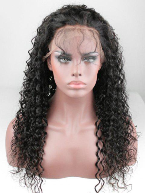Free Part Kinky Curly Human Hair Lace Front Wig - NATURAL BLACK 22INCH