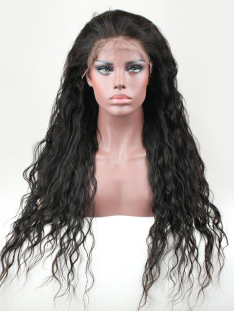 Real Human Hair Natural Wavy Lace Front Wig - NATURAL BLACK 12INCH