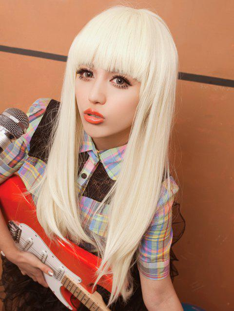 Long Full Bang Straight Synthetic Cosplay Wig - BEIGE