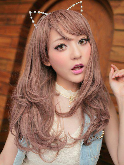 Synthetic Long Side Bang Straight Cosplay Lolita Wig - ROSY BROWN