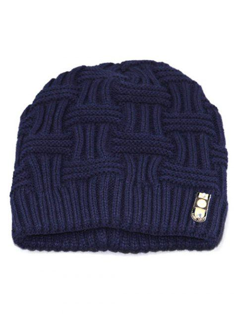 Solid Color Knit Warm Beanie - CADETBLUE