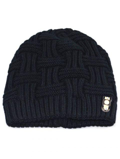 Solid Color Knit Warm Beanie - BLACK