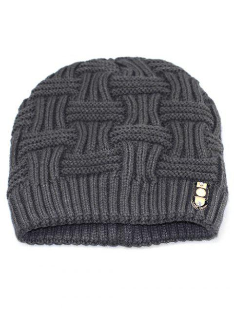 Solid Color Knit Warm Beanie - GRAY