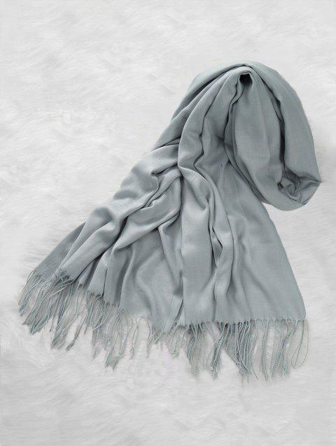 Casual Solid Color Fringed Long Scarf - LIGHT GRAY