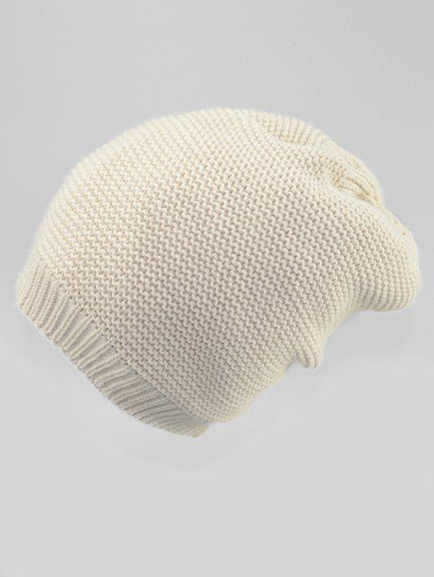 Solid Color Winter Slouchy Beanie - WHITE