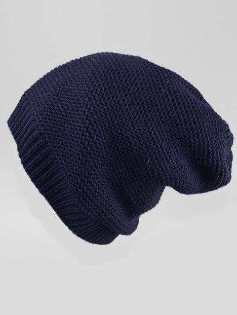 Solid Color Winter Slouchy Beanie - CADETBLUE