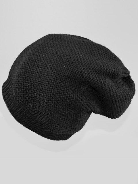 Solid Color Winter Slouchy Beanie - BLACK