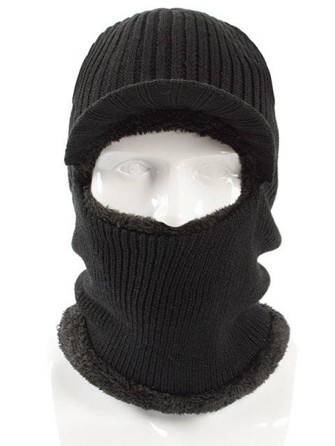 Winter Solid Color Knitted Beanie - BLACK