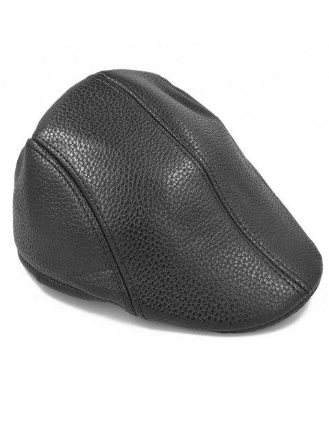 Line Embroidery Faux Leather Newsboy Hat - BLACK