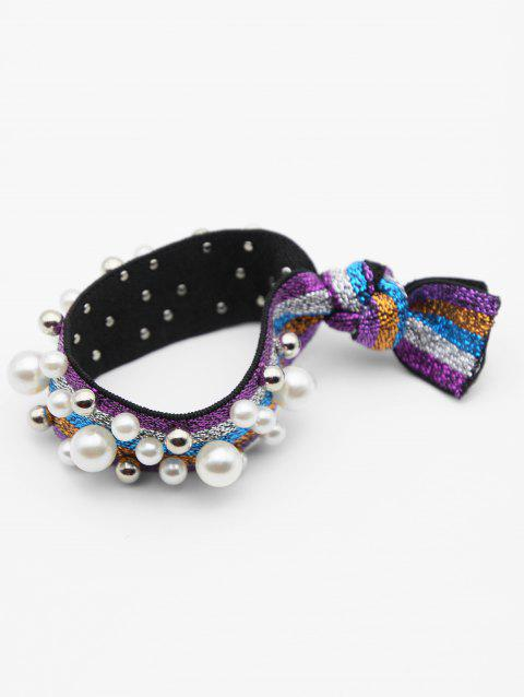 Color Block Faux Pearl Elastic Hairband - multicolor B