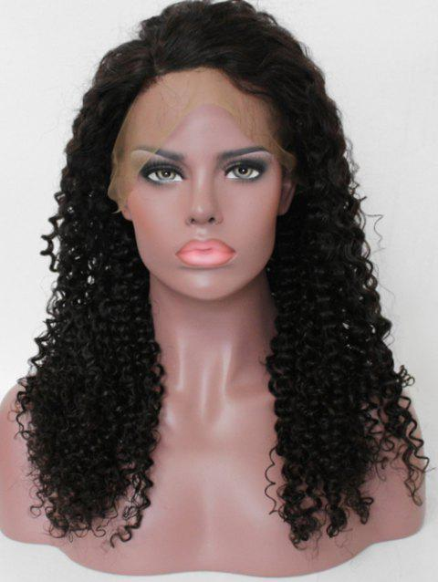 Free Part Human Hair Curly Lace Front Wig - NATURAL BLACK 18INCH