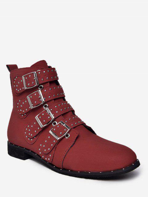 Buckle Strap Ankle Boots with Studs - RED EU 35
