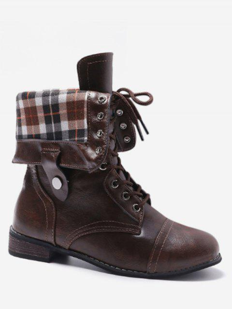 Lace Up Fold Over Plaid Print Boots - COFFEE EU 41