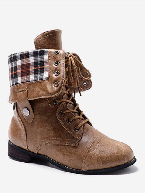 Lace Up Fold Over Plaid Print Boots - BROWN EU 40