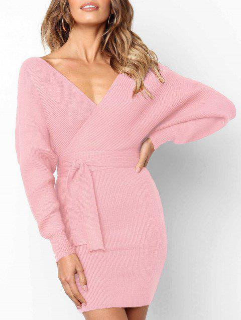 Wrap V Neck Batwing Sleeve Bodycon Dress - PINK L