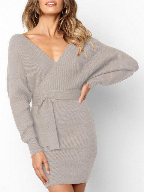 Wrap V Neck Batwing Sleeve Bodycon Dress - GRAY S