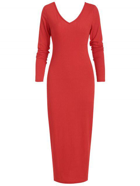 Long Sleeve Ribbed Bodycon Dress - RED L