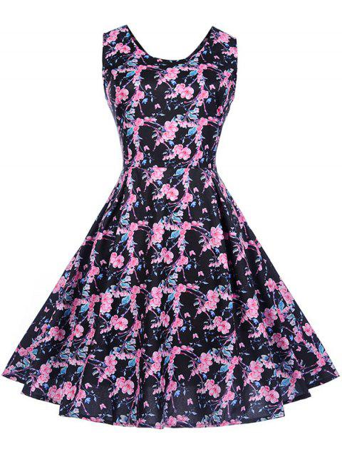 Round Neck Printed A Line Dress - BLUSH RED S