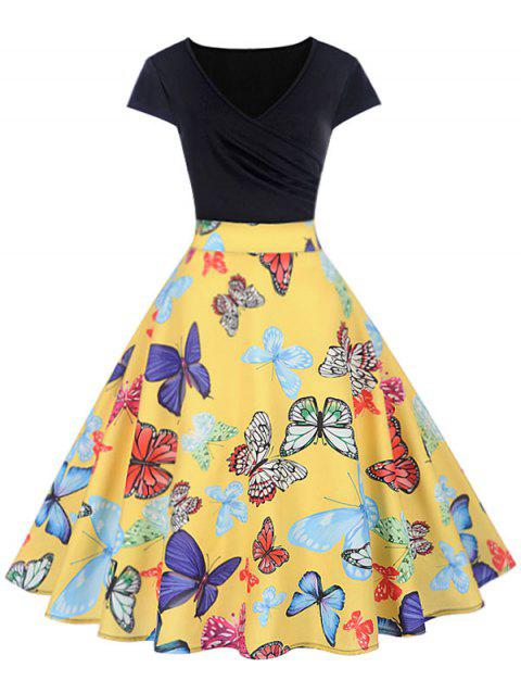 Butterfly Print Wrap Flare Dress - YELLOW L