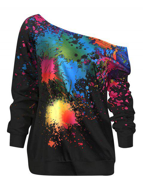 Paint Splatter Print Pullover Sweatshirt - BLACK 2XL