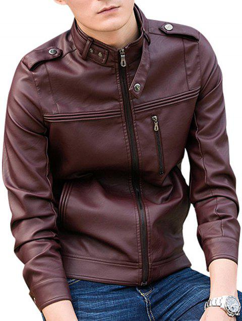 Motorcycle Zipper Casual PU Leather Jacket - RED WINE S