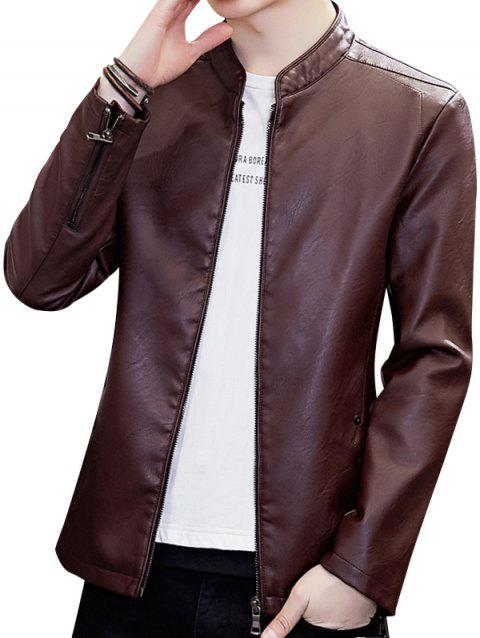 Stand Collar Zipper Faux Leather Jacket - RED WINE M