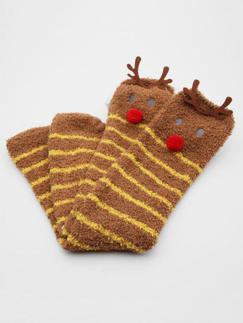 Christmas Elk Striped Fuzzy Socks - COFFEE