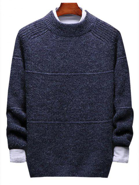 Solid Stripe Pullover Knit Sweater - DEEP BLUE L