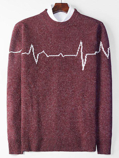 Electrocardiogram Pattern Pullover Knit Sweater - RED WINE XS
