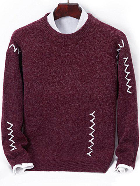 Contrast Zigzag Line Detail Knit Sweater - RED WINE M
