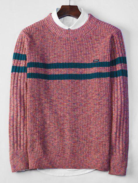 Cross Stripe Contrast Color Pullover Knit Sweater - BLUSH RED S