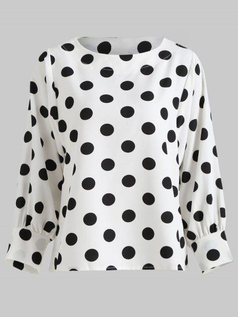 Polka Dot Print Puff Sleeve Top - WHITE S