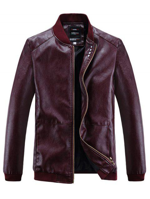 Solid Ribbed Edge Motor PU Jacket - RED WINE XS
