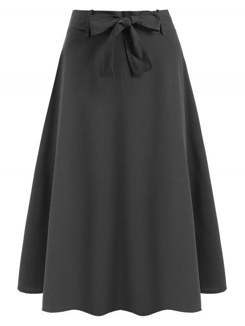 Belted Midi Flare Skirt - GRAY S