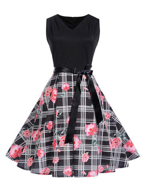 Belted Flower Print Sleeveless Dress - BLACK L