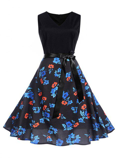 Flower Print Sleeveless A Line Dress - BLACK S
