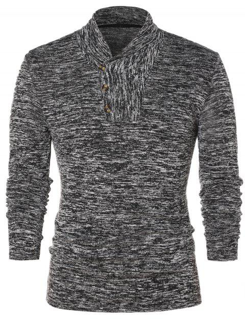 Shawl Collar Space Collar Pullover Sweater - GRAY CLOUD 2XL