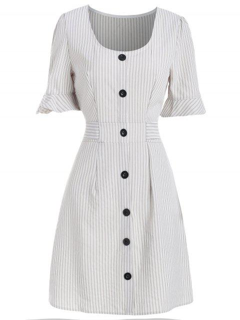 Ruffle Sleeve Striped Belted A Line Dress - WHITE M