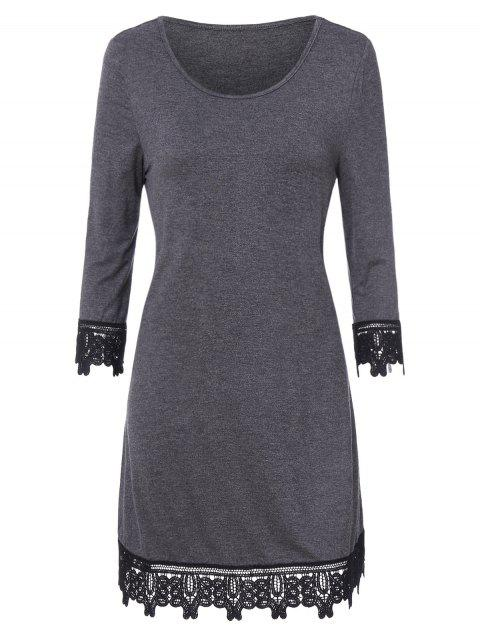 Sheer Lace Trim Mini Dress - GRAY XL
