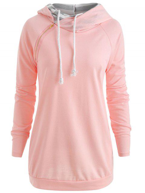 Sweat à capuche zippé double - Rose M