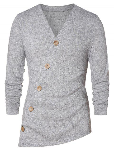 Asymmetric Button Up Solid Cardigan - GRAY CLOUD M