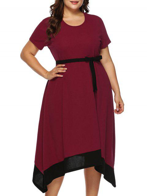 Plus Size Contrast Trim Asymmetrical Dress - RED WINE 1X