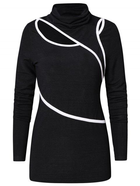 Cowl Neck Contrast Long Sleeve T Shirt - BLACK L