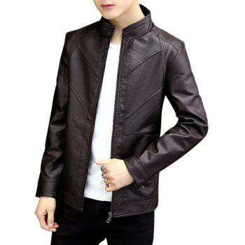 Autumn Motor Seam Zipper PU Jacket