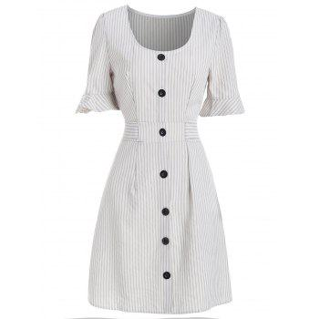"""<P>Ruffle Sleeve Striped Belted A Line Dress</P><I Class=""""Icon Down Js Tap Up Down""""></I> by Dress Lily"""
