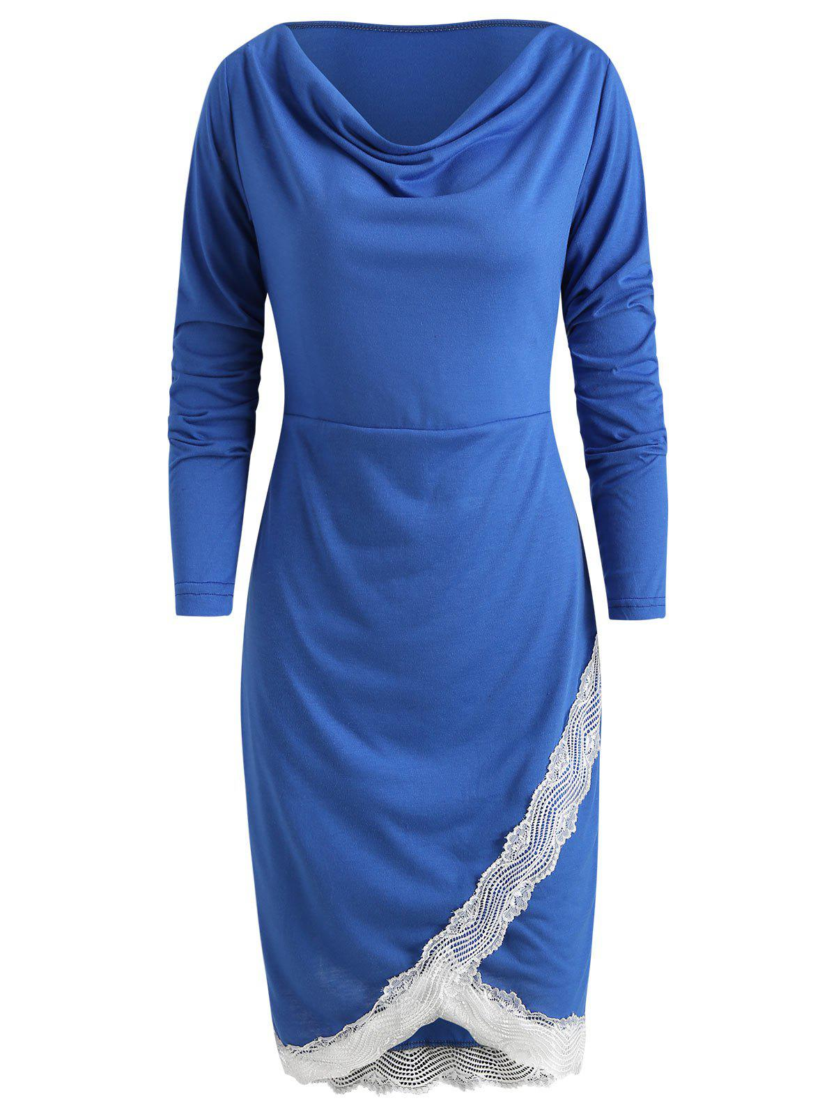 Lace Trim Sheath Dress - COBALT BLUE XL